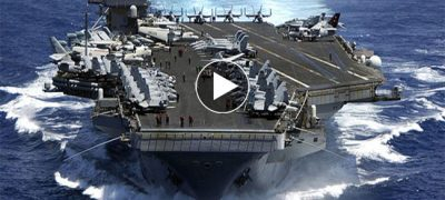 Aircraft Carrier Battles Sea Into The Storm